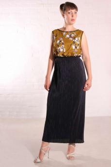 Платье из батиста ирисы и синего гофре длинное