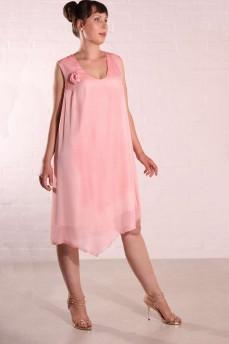 Шелковое платье персиковое с розой