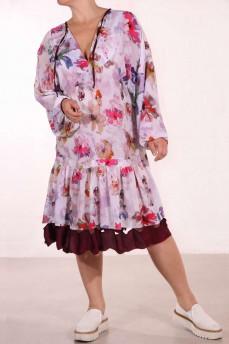 Платье из креп-шифона принт пионы раздельный волан