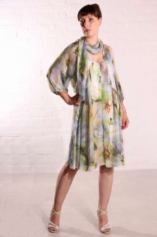 Платье шифоновое  отложной воротник шарф