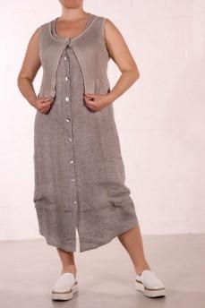 Платье льняное серое на пуговицах