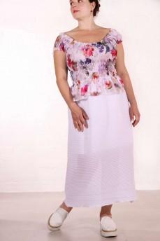 Блуза-топ пионы с рукавом