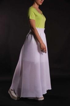 Белая юбка длинная  плиссе пружинка