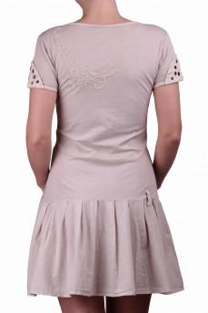 Платье бежевое с драпировкой