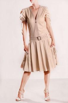Платье объемные карманы бежевое