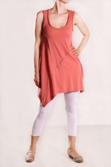 Платье-туника с асимметричным подолом цвета античная роза