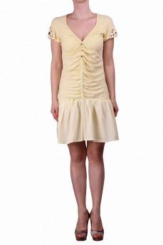 Платье желтое с драпировкой