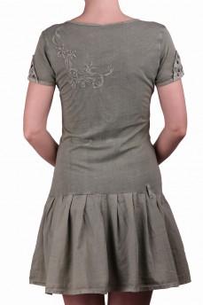 Платье оливковое с драпировкой