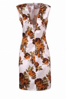 Платье футляр желтые розы